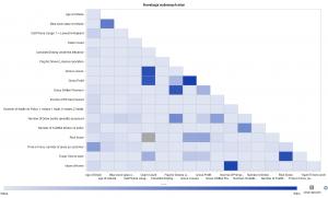 Rysunek 4 - przykład macierzy korelacji w SAS Visual Analytics.