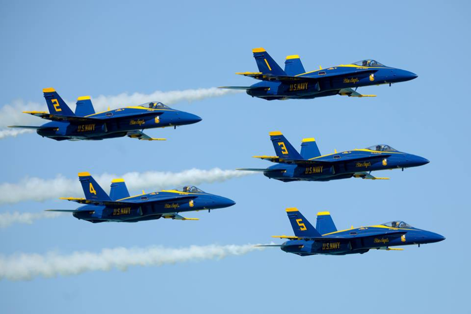 U.S. Navy Blue Angels pilots in perfect alignment. Photo by Barry Butler, Chicago, Illinois