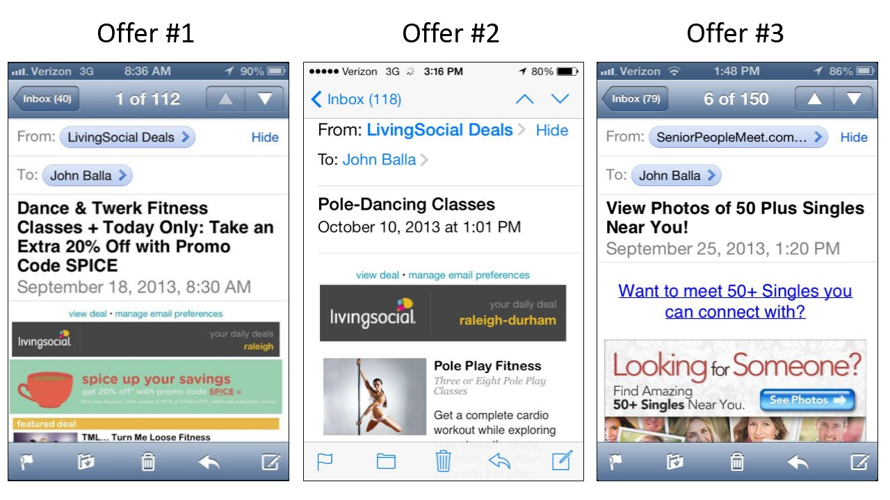 One offer for twerking classes, one offer for pole-dancing classes and one offer to meet 50+ singles in my area.