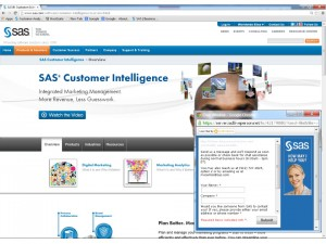 Live chat on sas.com happens in a pop-up window by request or if our visitor appears to need help.