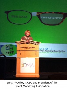 Linda Woolley, CEO and President of the DMA, was keynote speaker at the NCDM2013 conference.