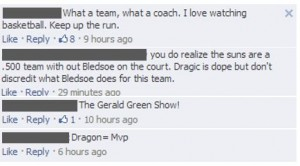 Comments from the Phoenix Suns' Facebook page