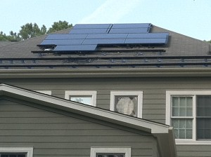 Solar panels being installed on our roof.