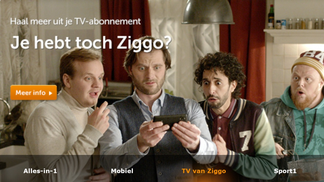 Ziggo customers need internet, TV and phone services.