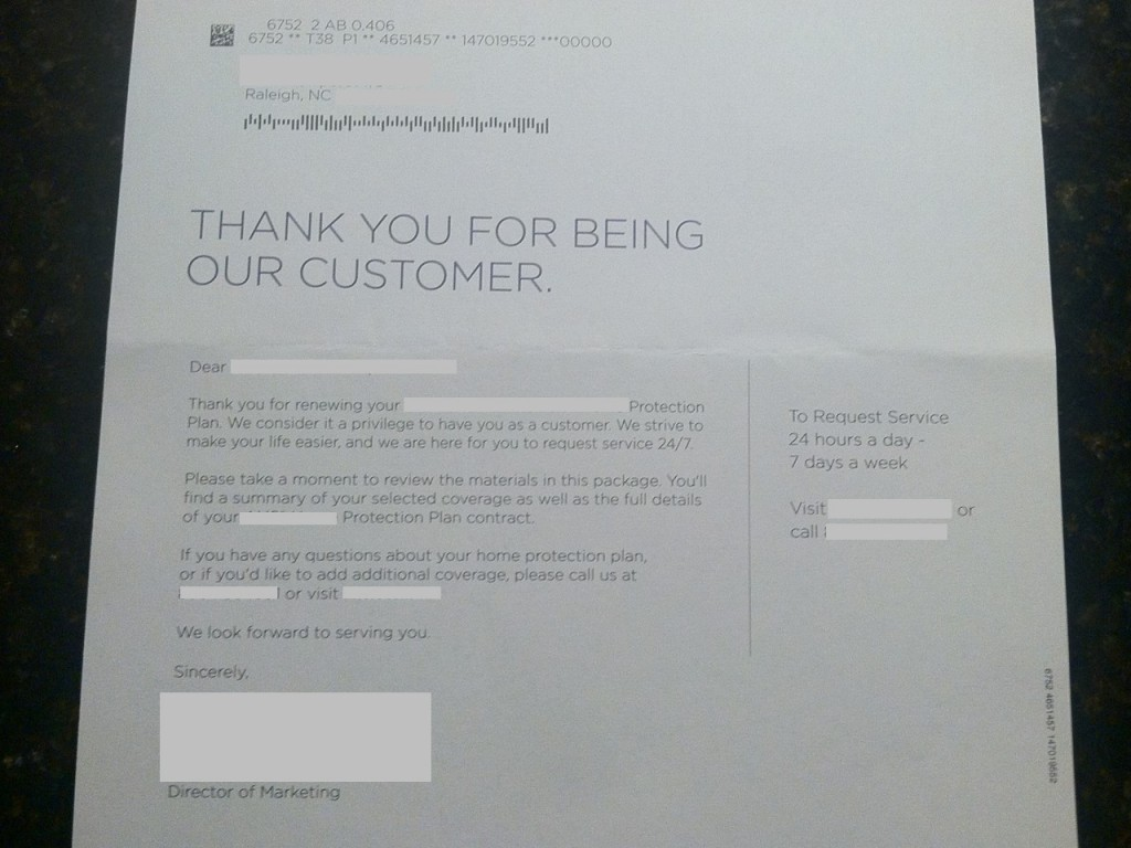 This letter is not from a health plan or provider, but clearly shows me the love as a customer.