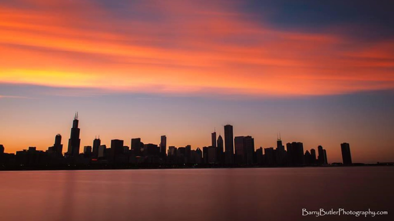Sunset over Marshall Field's Chicago, circa 2014