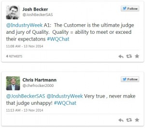 Image of a tweet from #WQChat.