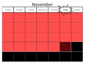 Black Friday is the fourth Friday in the month of November.