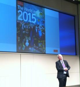 "Daniel Franklin presenting The Economist's ""The World in 2015."""