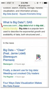 Google identifies mobile-friendly pages, such as this SAS one for Big Data and moves them up in organic search.