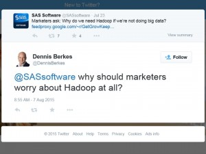 "Tweet: ""Why should marketers worry about Hadoop at all?"""
