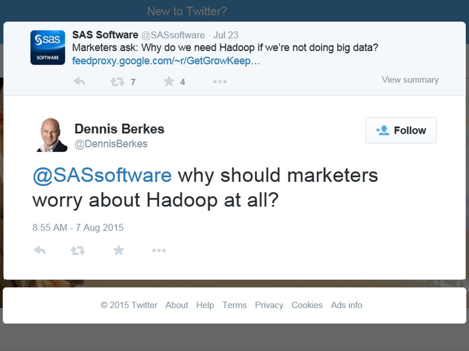 "Tweet: ""Why should I worry about Hadoop at all?"""