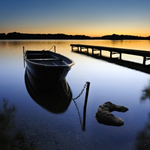 Image showing a serene lake at sunset.