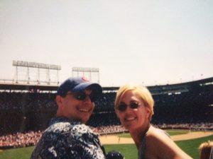 Michele and husband, Jon, at Wrigley Field (2003)