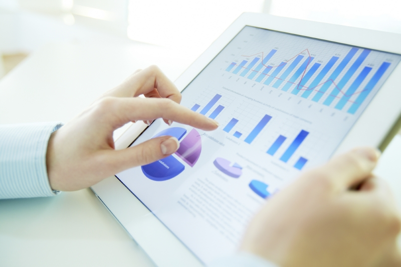 Financial charts on tablet