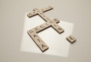 Data confidence Scrabble blocks