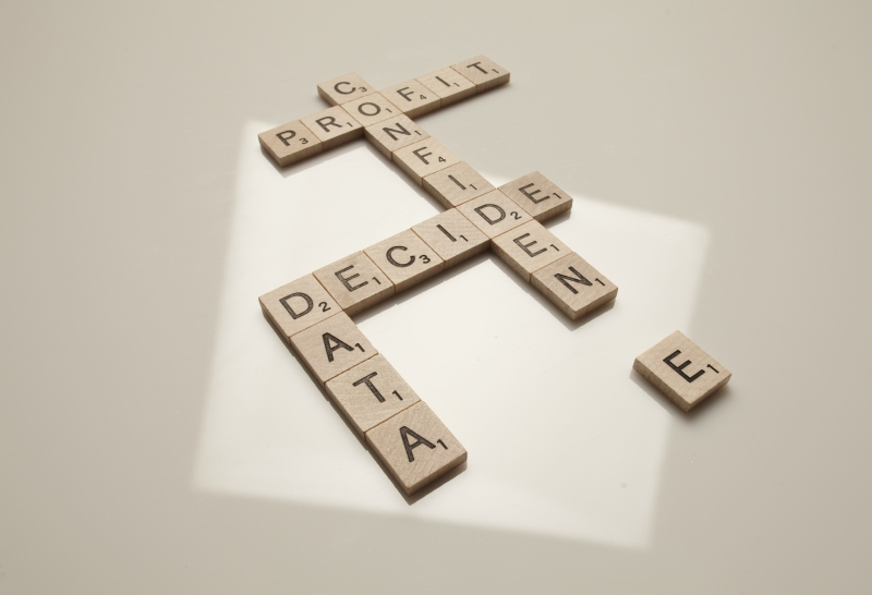 Data confidence Scrabble blocks