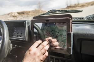 driver using GPS navigation