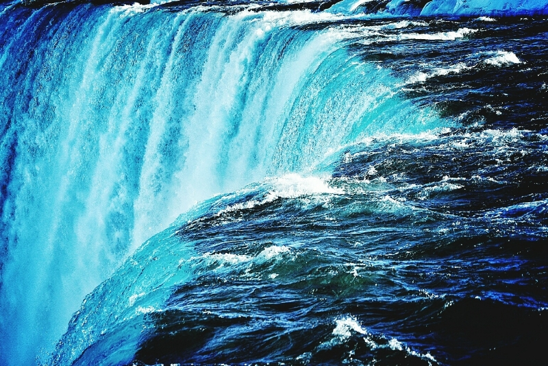 waterfall represents data pouring into data lake