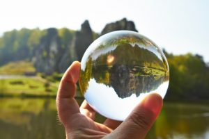 crystal ball against mountains repesents data quality and MDM