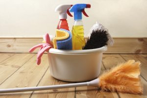 cleaning supplies for clean-up woman