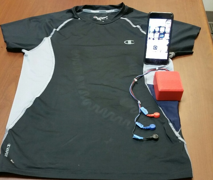 t-shirt (wearable) embedded with sensors