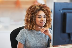 young businesswoman considers pros and cons of data on demand