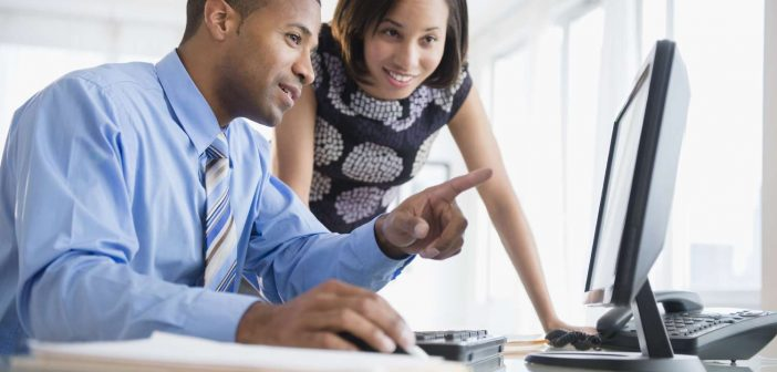 Business people collaborate about self-service data preparation