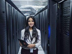 Businesswoman considers the data retention strategy