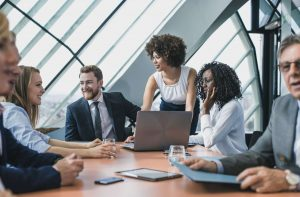 Business team discusses personal data considerations