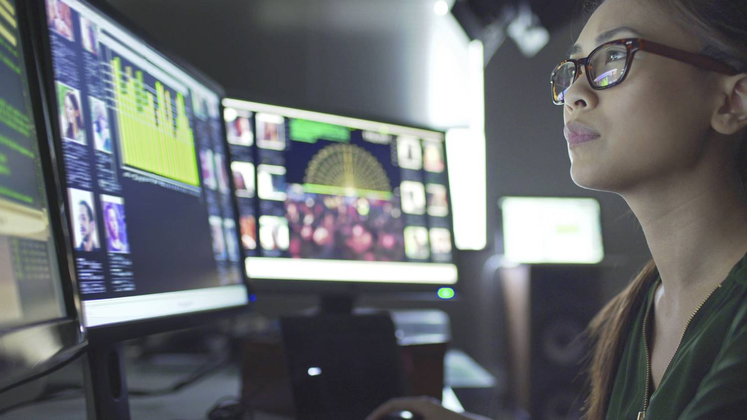 Woman viewing big data stored on cloud