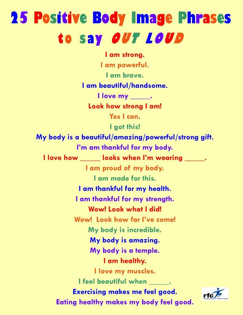 25 Positive Body Image Phrases