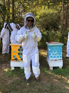 Alyssa (author) wearing a bee suit