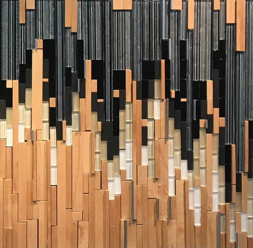 Cascade. Wood, glass and metal mosaic by Juliana Craig