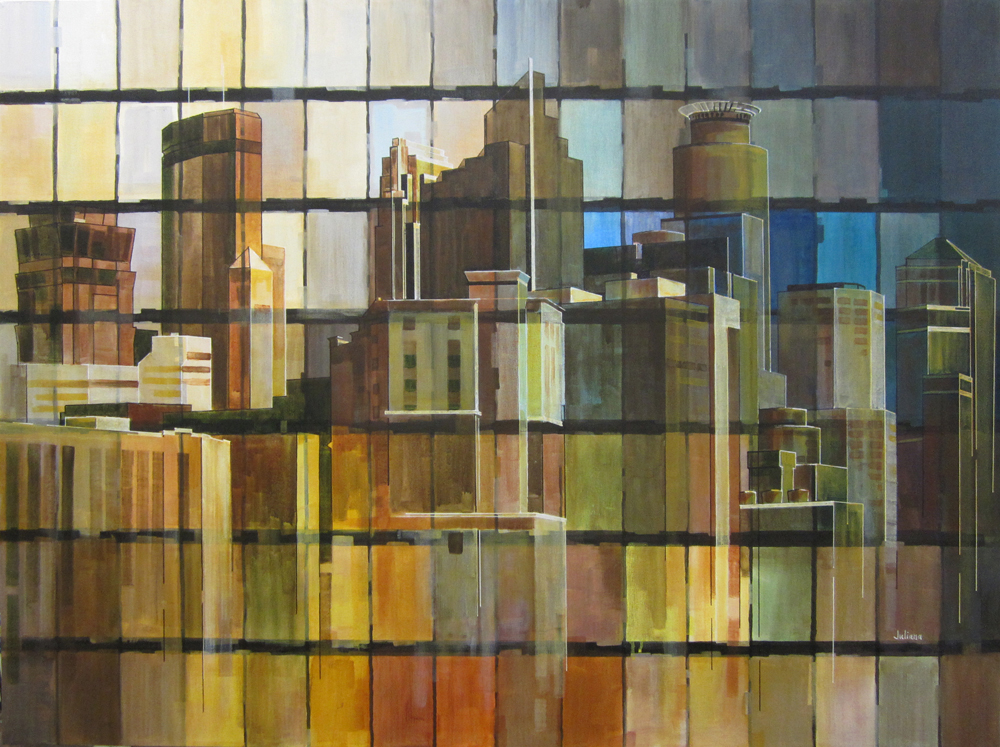 Minneapolis Skyline. Wood, glass and metal mosaic by Juliana Craig