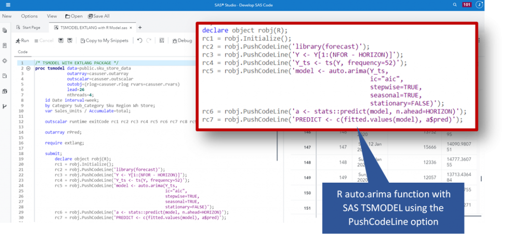 screenshot of R code in SAS