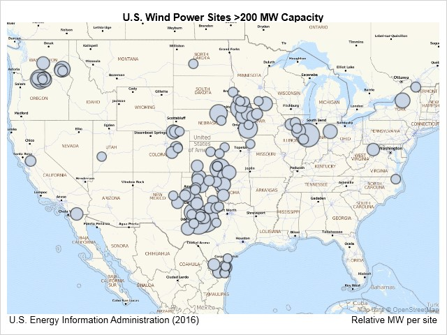 Wind power sites in U.S. over 200 MW