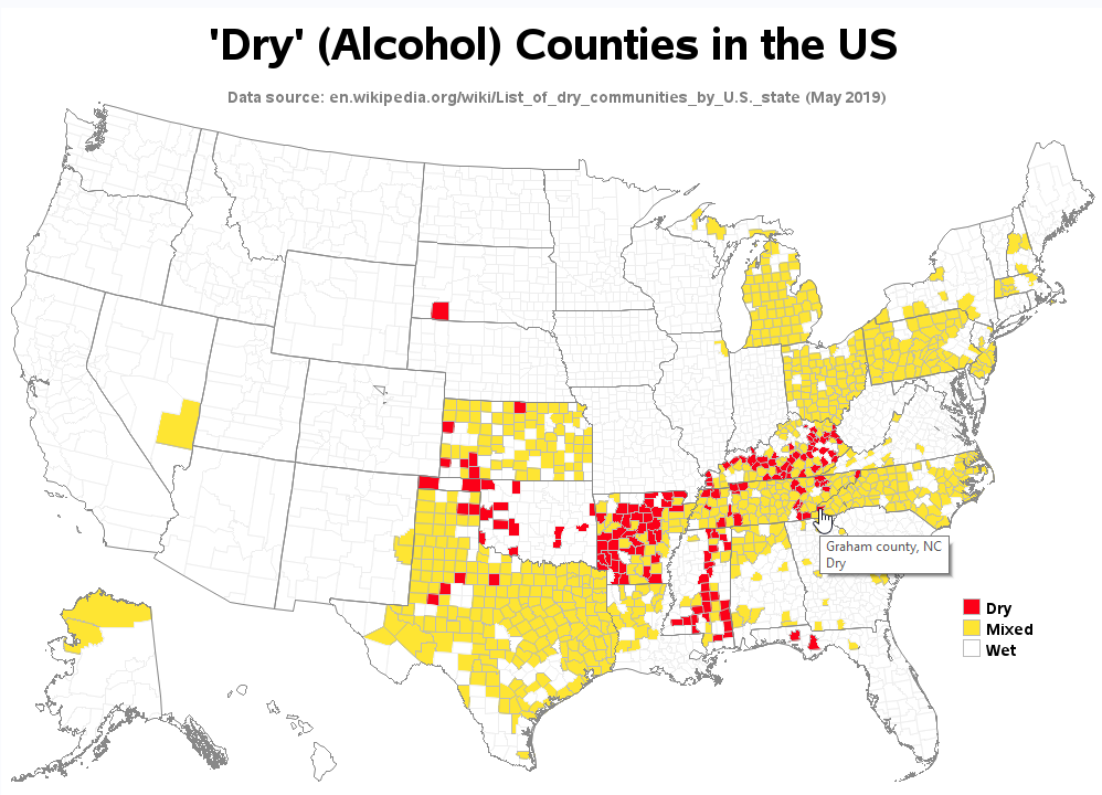 Which counties in the US are still \'dry\'? - Graphically Speaking