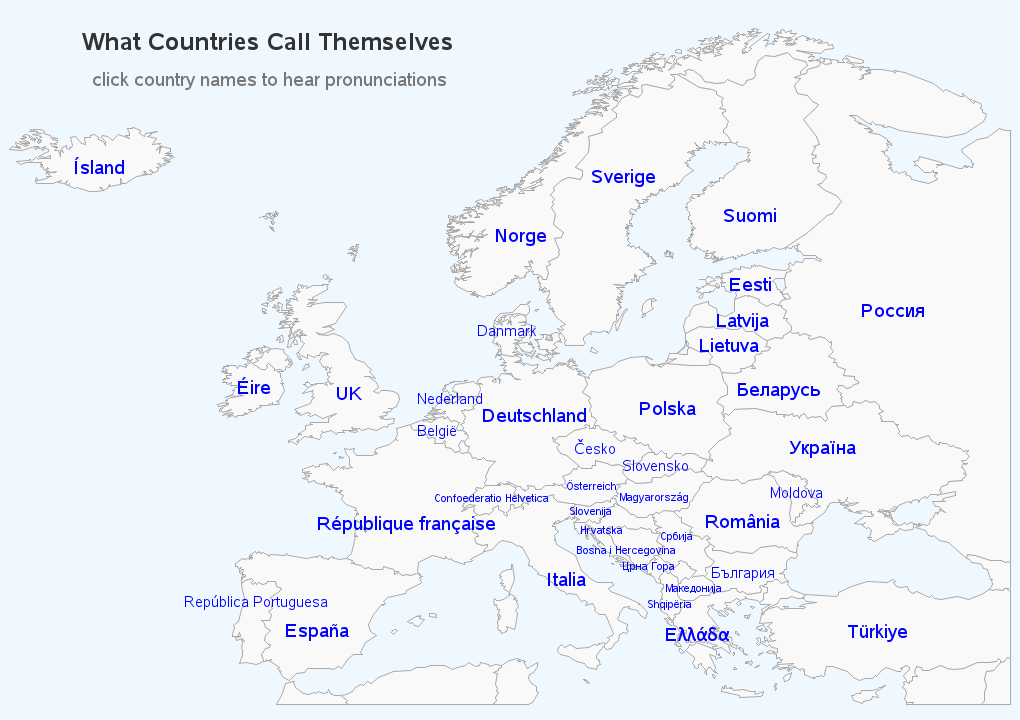 The *real* country names in Europe - Graphically Speaking