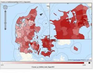 Fravær pr. fuldtidsbeskæftiget i 2012 (målt i dagsværk), kommunalt ansatte