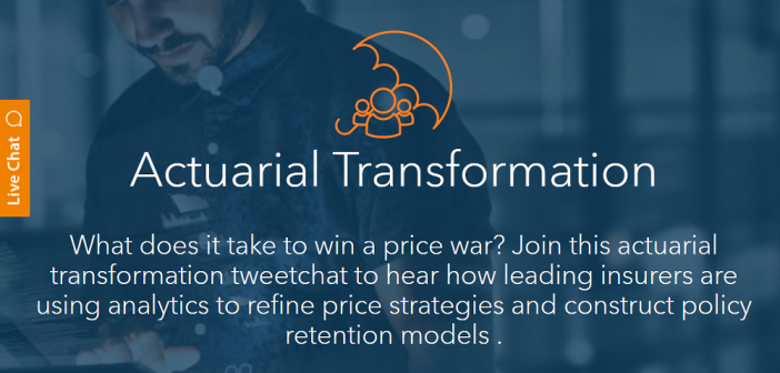 Actuarial Transformation: What does it take to win a price war? Join this actuarial transformation tweetchat to hear how leading insurers are using analytics to refine price strategies and construct policy retention models.