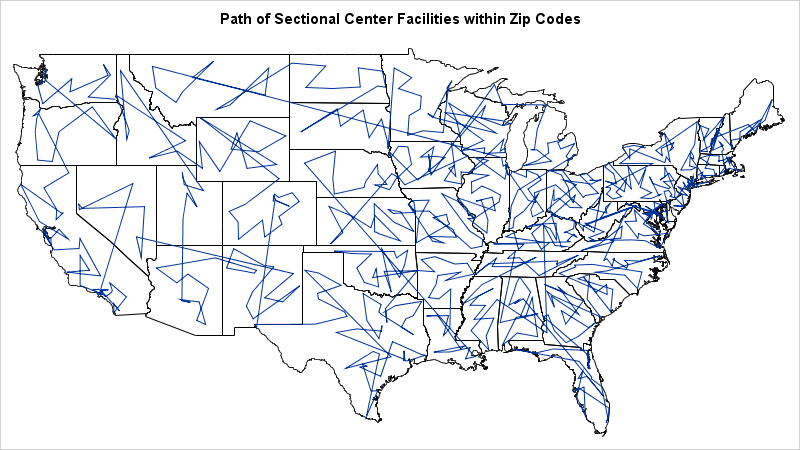 Map showing US Sectional Center Facilitiey (SCF) codes connected in order