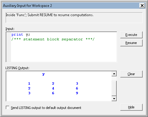 The PAUSE statement as a debugging tool in SAS/IML Studio