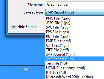 The File Output Menu in JMP