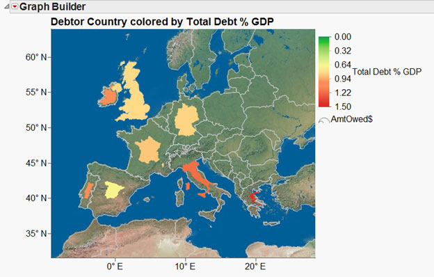 JMP map of debtor countries in Europe