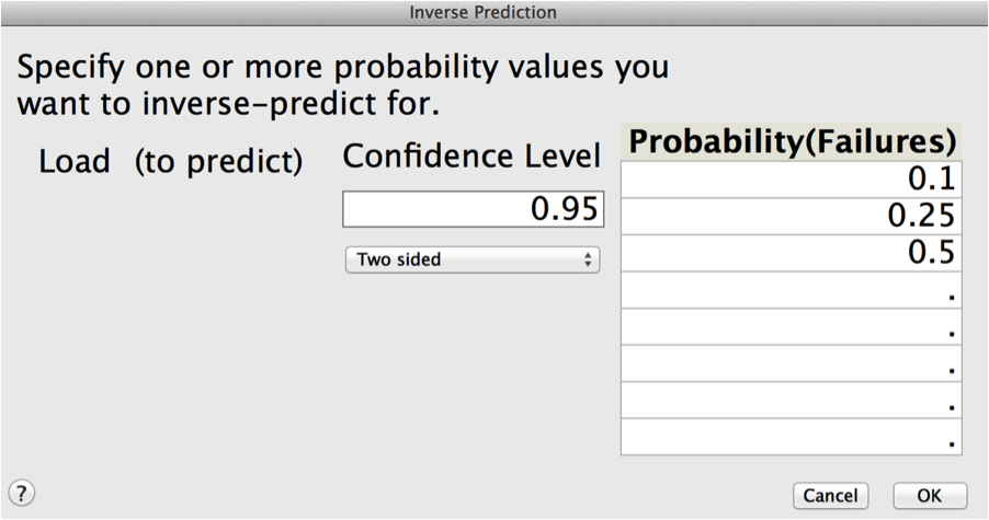 Figure 4: Dialog for Inverse Prediction