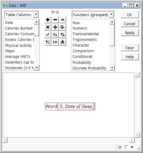 Formula editor Date