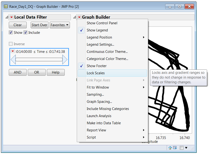 The points in Graph Builder, the Local Data Filter and Graph Options
