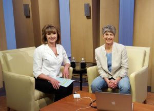 Anne Milley and I prepare for the live webcast.