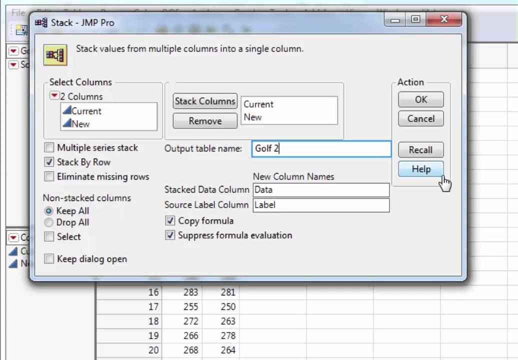 Stack tool in JMP